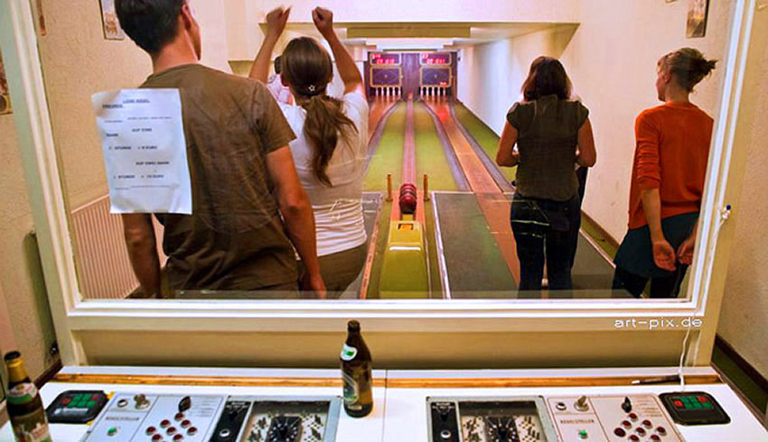 The nine-pin bowling lanes in Berlin's Kugelbahn bar