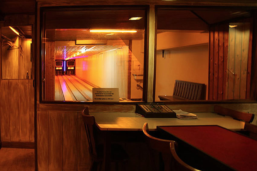 A vintage Kegelbahn or bowling alley at Tante Lisbeth bar, Berlin