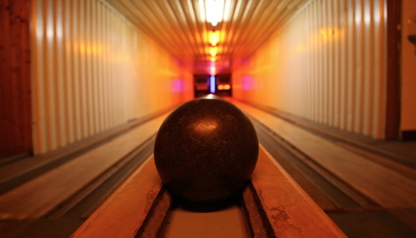 A basement bowling alley in Tante Lisbeth bar, Berlin