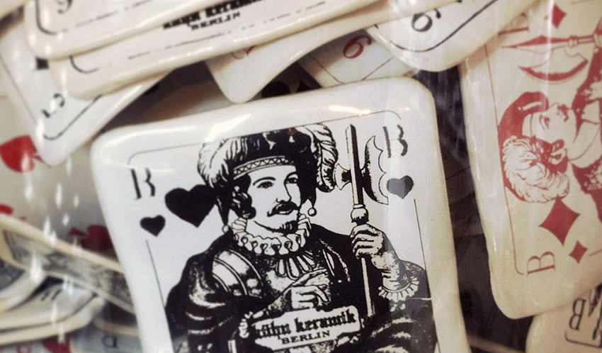 Ceramic playing cards on sale in this quirky and beautiful Berlin store