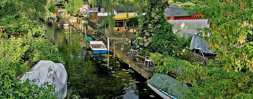 The waterways and canals of Berlin's Little Venice at Spandau's Tiefwerder