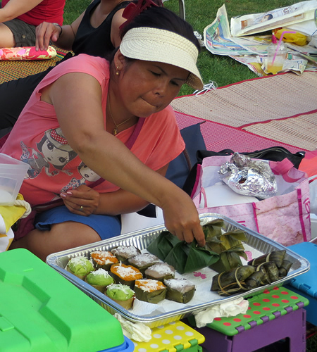 Authentic Thai specialities on sale at Berlin's Thai market in a park