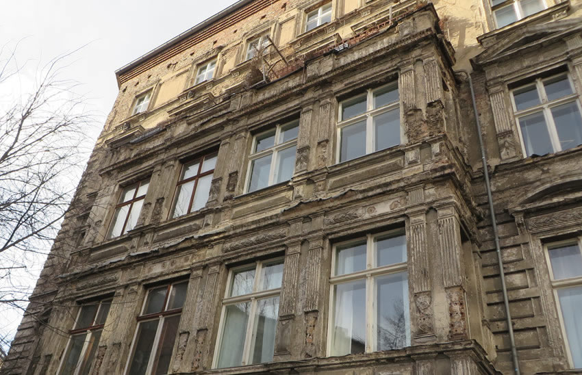 Historic facade in disrepair, Berlin