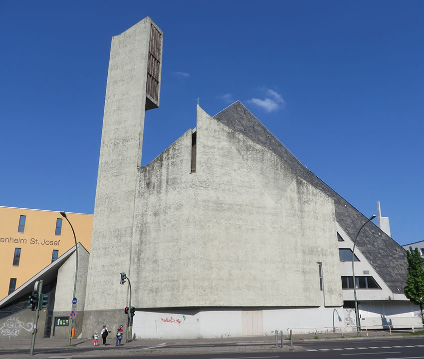 Brutalist architectural elements to this Schoeneberg church - the fortress-like bulk of St Norbert's, Berlin