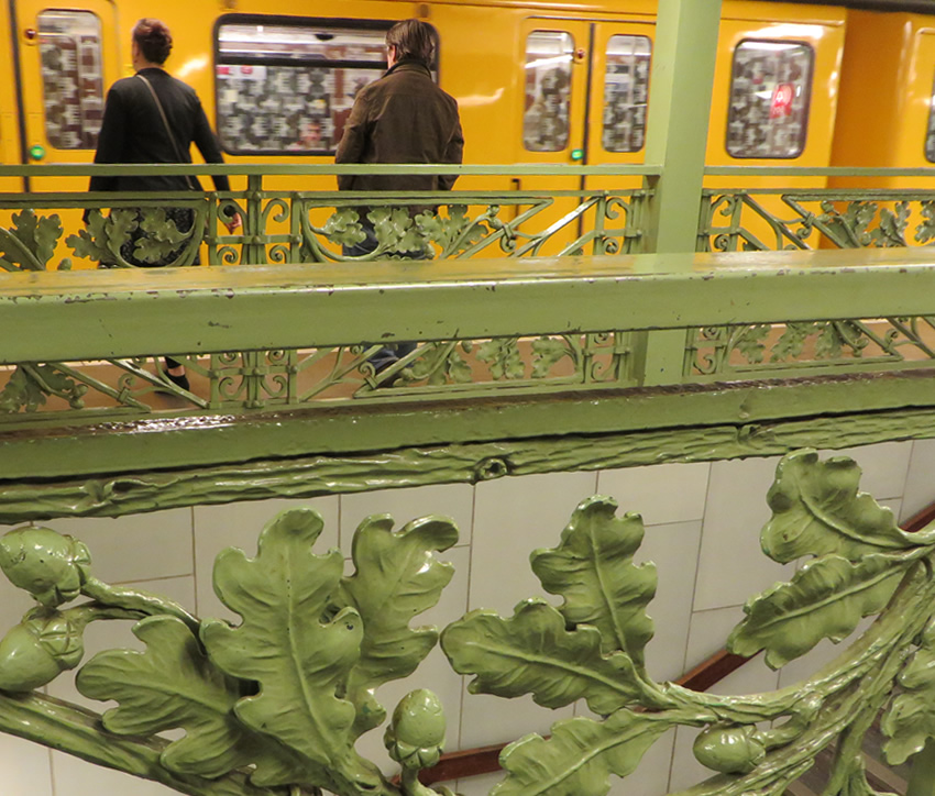 Decorative metalwork at Fehrbellinerplatz Metro, Berlin
