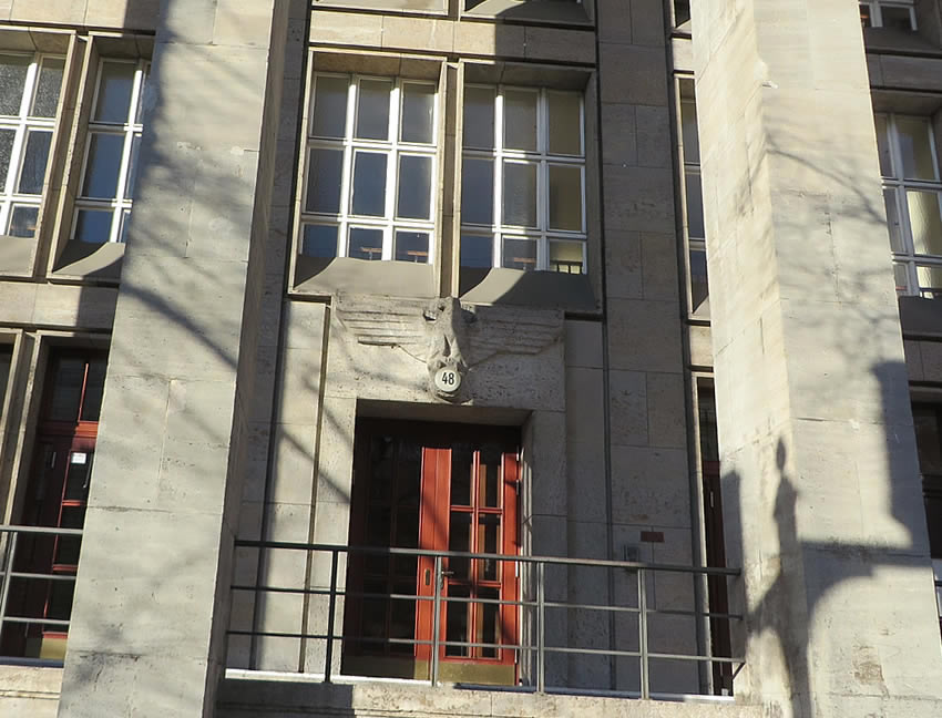 A Reichsadler Nazi eagle adorns this Charlottenburg building