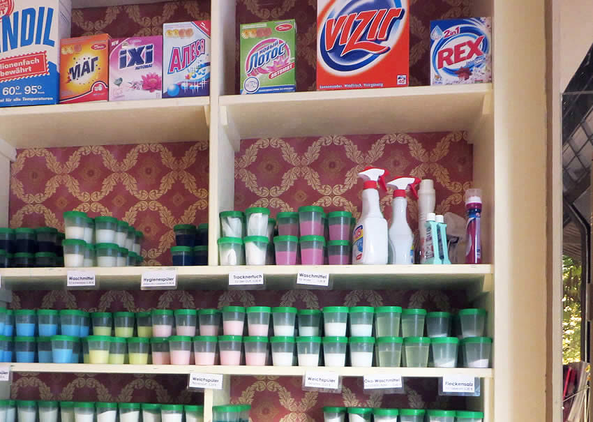 Cleaning products and a cafe at Freddy Leck sein Waschsalon - a funky Moabit, Berlin laundromat
