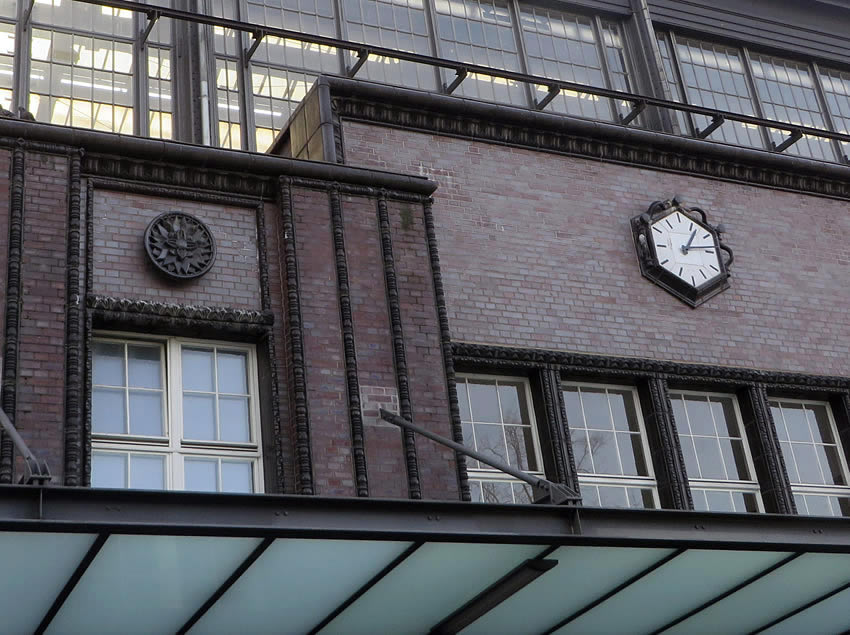 Berlin architecture: exterior of Friedrichstrasse Station, Berlin, showing ceramic tile ornamentation