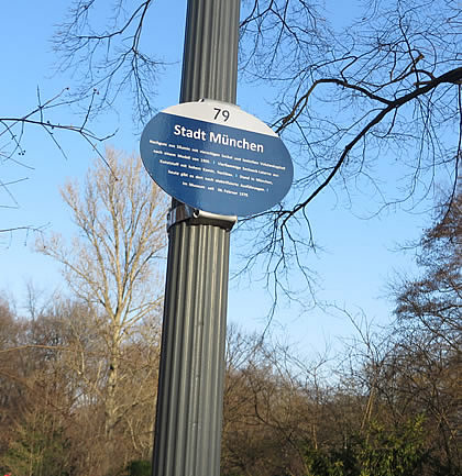 A labelled gas lamp in Berlin's Tiergarten
