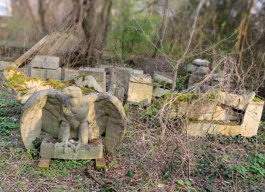 Secret Berlin: hidden fragments of stone sculptures, including a beautiful imperial eagle