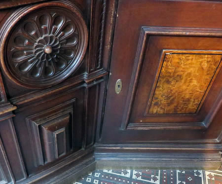 Detail of wooden cabinets in historic apothecary, Berlin
