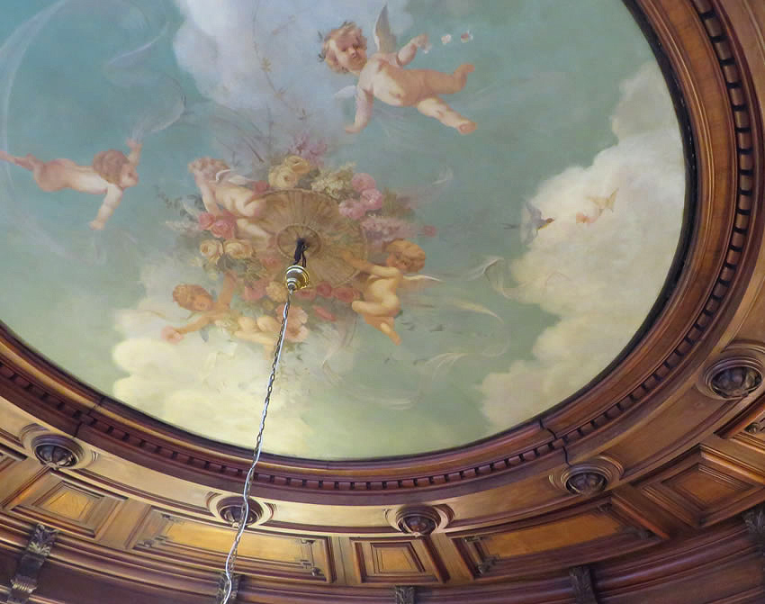 Secret Berlin: beautiful painted ceiling in a 19th century chemist's, Berlin, Mitte