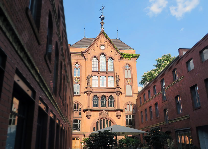 A hidden courtyard in Berlin boasts a stunning former Brewery