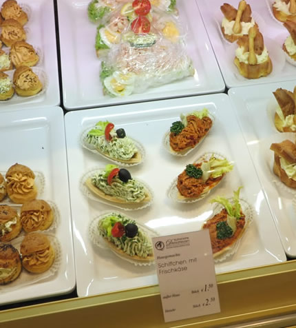 A fine selection of open sandwiches at KaDeWe Food delicatessen, Berlin
