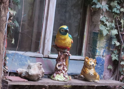 Ornaments in the courtyard of former squat, Prenzlauer Berg
