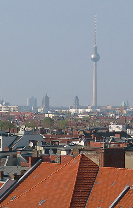 The Fernsehturm viewed from Neukoelln Arkaden car park rooftop terrace