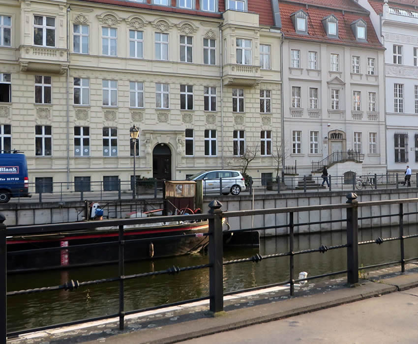 View of Berlin's historic port and Märkisches Ufer