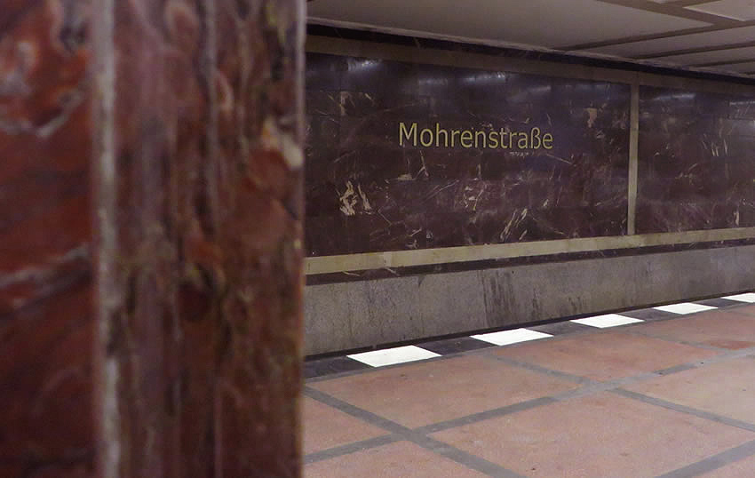 The red marble in Berlin's Mohrenstraße U-Bahn - said to have originated in Hitler's Chancellery