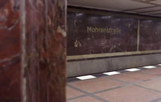 Red marble in Mohrenstrasse metro, Berlin