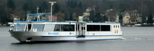 The F10 ferry crosses Berlin's Wannsee lake