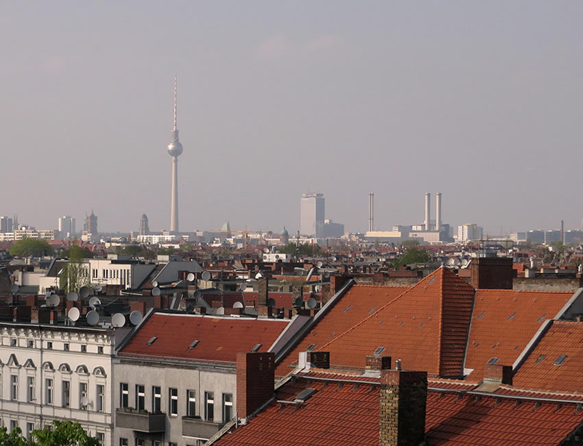Panoramic views of Berlin from the Neukoelln Arkaden car park